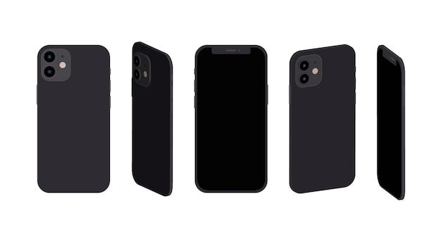 Smartphone de design plano em diferentes perspectivas