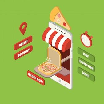 Smartphone de entrega de pizza on-line isométrica