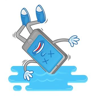 Smartphone de personagem de desenho animado cair na água.