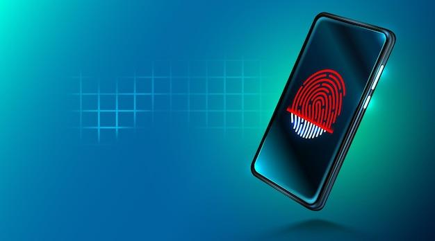 Smartphone de segurança de dados móveis com leitor de impressão digital