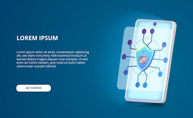 Smartphone de segurança moderno contra ameaças de hackers e spyware com escudo, conceito de ilustração de cadeado com tela de brilho azul