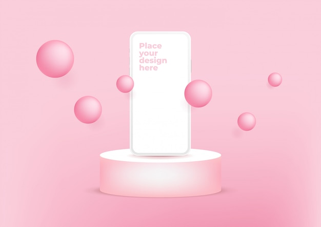 Smartphone de tela em branco no pódio em fundo rosa.