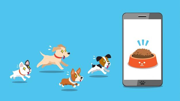 Smartphone e cães de personagem de desenho animado