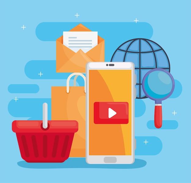 Smartphone e cesta com conjunto de ícones