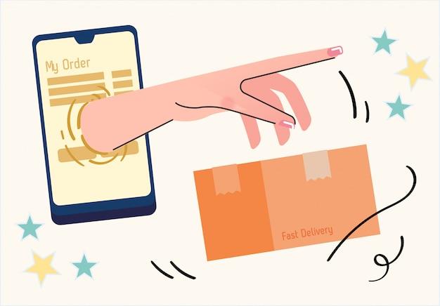 Smartphone e-commerce tecnologia entrega on-line ilustração