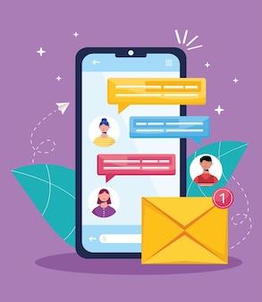 Smartphone e e-mail de mensagens