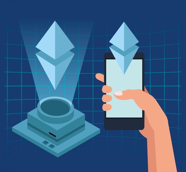 Smartphone e holograma