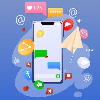 Smartphone e ícones de redes sociais, aplicativos, sms, gostos isolados sobre fundo azul. novas tecnologias e sistema móvel. ilustração vetorial