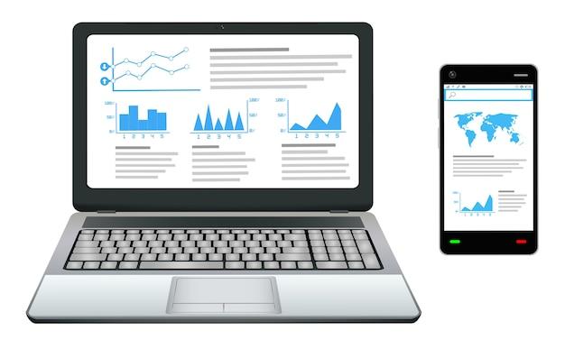 Smartphone e laptop com gráfico de trabalho de negócios na tela
