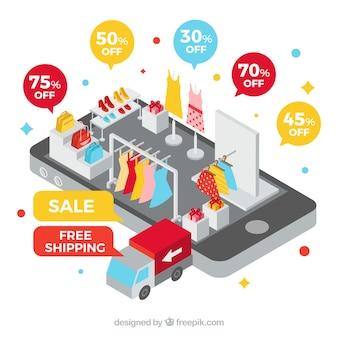 Smartphone e loja de roupas com design plano