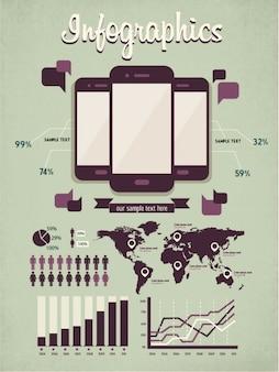 Smartphone e mapa infográfico
