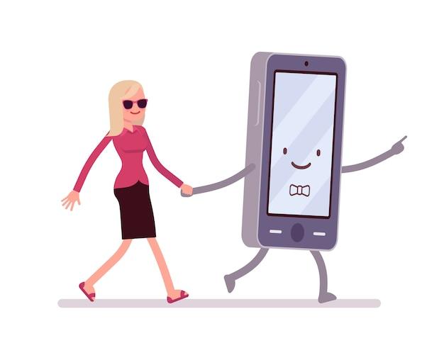 Smartphone e mulher estão andando segurando uma mão