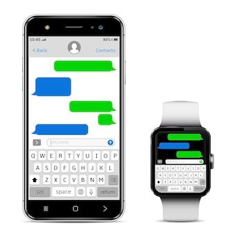Smartphone e smartwatch com bate-papo sms