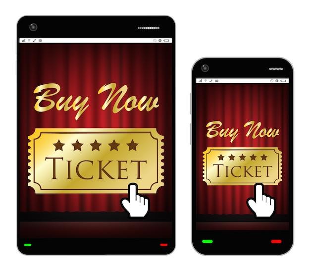 Smartphone e tablet com bilhetes de cinema na tela