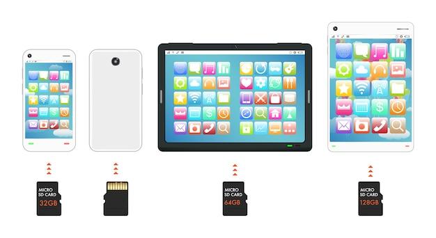 Smartphone e tablet com cartão de memória micro sd