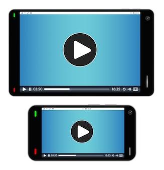 Smartphone e tablet com mídia tocando na tela