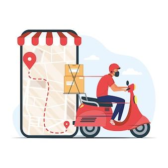 Smartphone e trabalhador de serviço de entrega usando máscara médica em desenho de ilustração de motocicleta