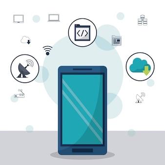 Smartphone em closeup e ícones de rede