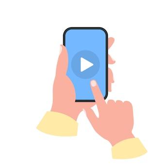 Smartphone em seu conceito de mão. assista vídeo Vetor Premium