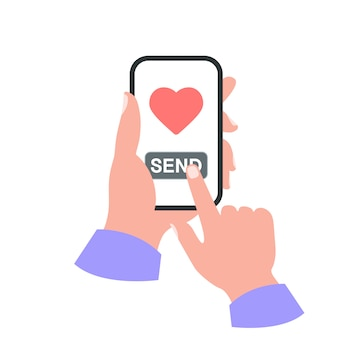 Smartphone em seu conceito de mão. enviar como Vetor Premium