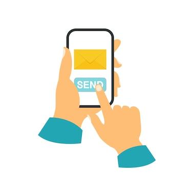 Smartphone em seu conceito de mão. envie uma mensagem Vetor Premium