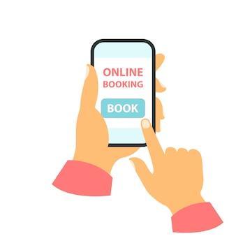 Smartphone em seu conceito de mão. marcação online Vetor Premium