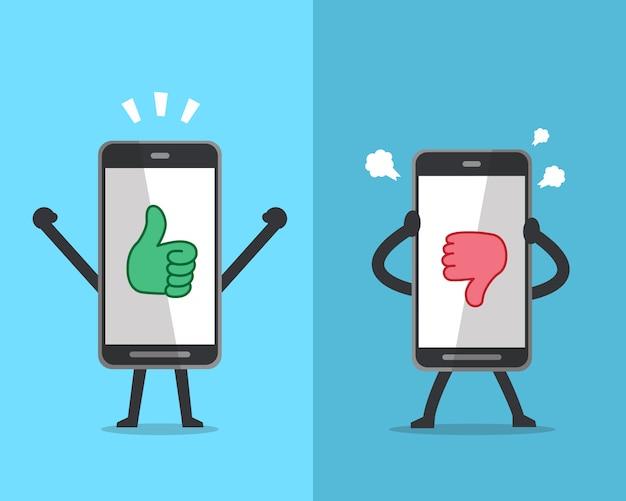 Smartphone expressando emoções diferentes com ícones de mão