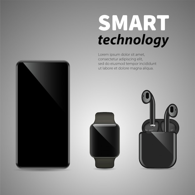Smartphone, fones de ouvido sem fio e relógios inteligentes em fundo cinza. comunicações e tecnologia inteligente moderna.