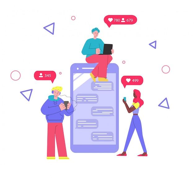 Smartphone gigante com aplicativo de mensagens móvel e pessoas dos desenhos animados