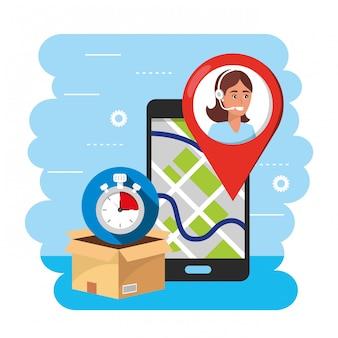 Smartphone gps mapa e call center agente para serviço