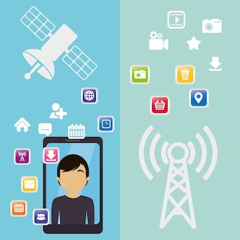 Smartphone homem antena comunicação virtual