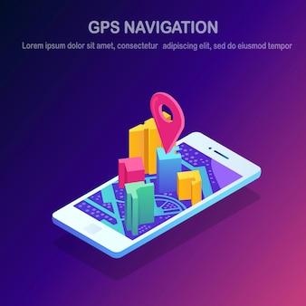 Smartphone isométrico com aplicativo de navegação gps, rastreamento. celular com aplicativo de mapa