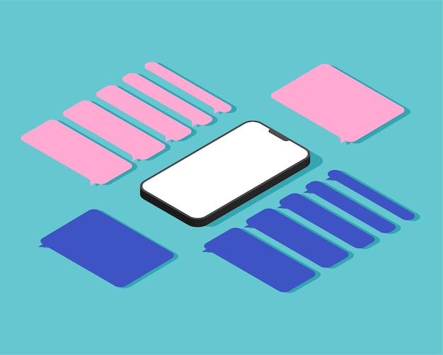 Smartphone isométrico com caixas de diálogo em branco. modelos vazios de mensagens de balões de fala.
