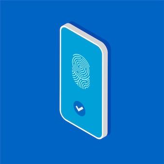 Smartphone isométrico com digitalização de impressão digital. toque em id no celular.