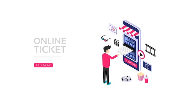 Smartphone isométrico com ícone de aplicativo, reserva de passagens online