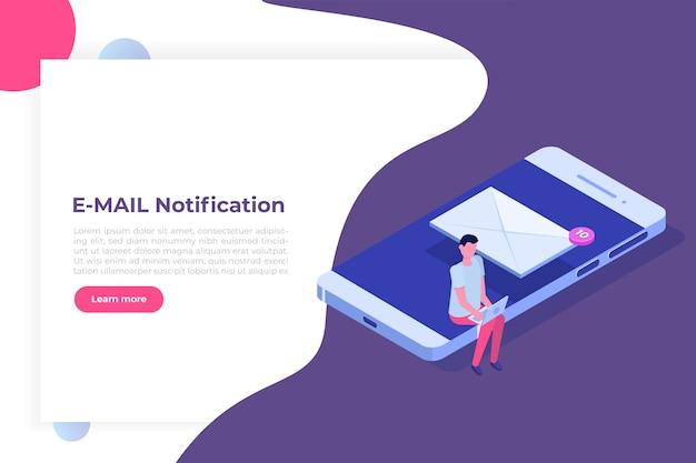 Smartphone isométrico com notificação por e-mail