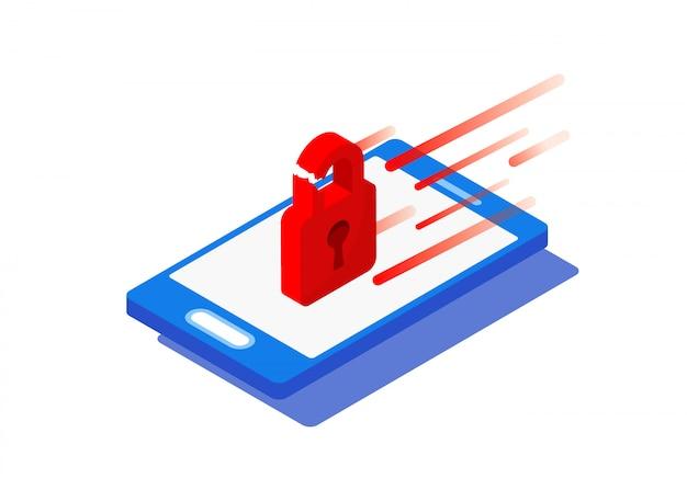 Smartphone isométrico e cadeado quebrado vermelho com ataque de vírus. hacker hacking de informações e dados pessoais de um dispositivo inteligente pessoal. tecnologia de proteção de segurança de rede.