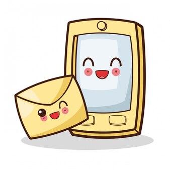 Smartphone kawaii isolado