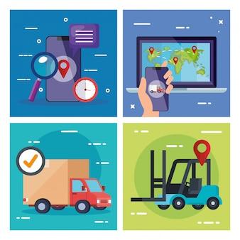 Smartphone laptop caminhão e empilhadeira vector design