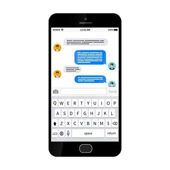 Smartphone lustroso preto com caixa de diálogo sms