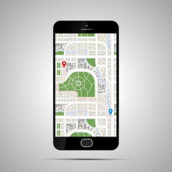 Smartphone lustroso realista com mapa detalhado da cidade e caminho do gps