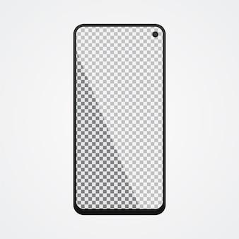 Smartphone mock up com tela transparente em branco ackgr
