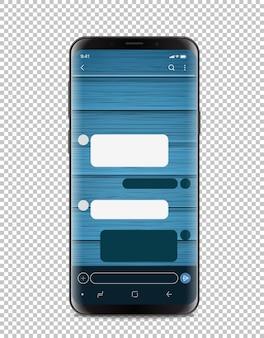 Smartphone moderno com interface de bate-papo vazia