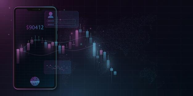 Smartphone moderno com padrão de preço de castiçal no mercado de criptomoedas. economia mundial. design da interface do usuário. conceito de negócio do vetor. eps 10