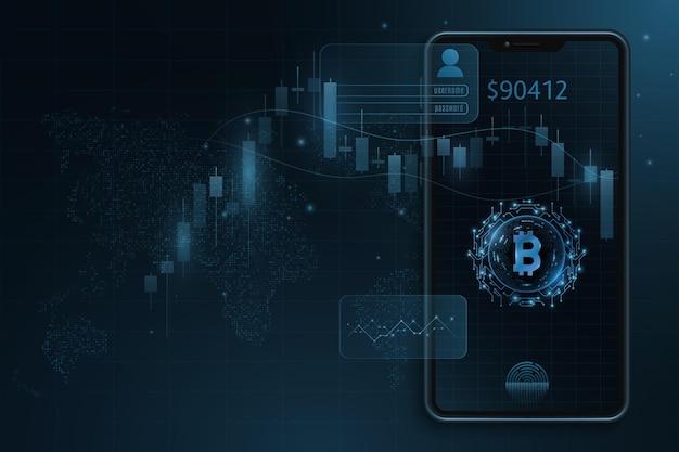 Smartphone moderno com padrão de preço de vela bitcoin no mercado de criptomoedas