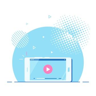 Smartphone moderno com player de vídeo online na tela. streaming móvel, podcast ao vivo, vídeo móvel