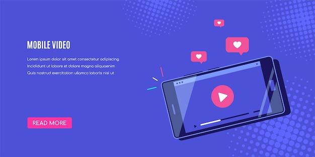 Smartphone moderno com player de vídeo online na tela. transmissão móvel, podcast ao vivo, vídeo móvel, tv.