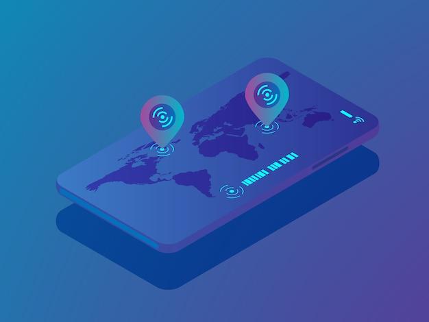 Smartphone móvel com aplicação de localização, localização de pinos no vetor de mapa mundo isométrico