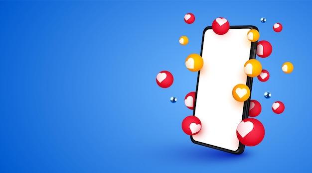 Smartphone móvel com bolhas de notificação de curtidas, mídia social e conceito de marketing