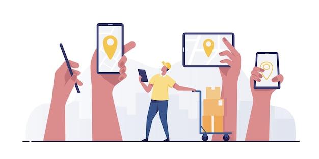 Smartphone móvel com conceito de serviço de entrega de pino de localização.